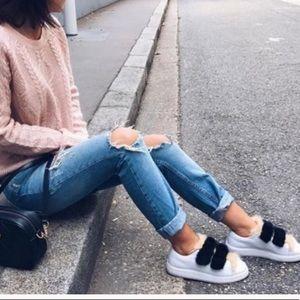 Zara Leather Sneakers W/Faux Fur Velcro Straps 40